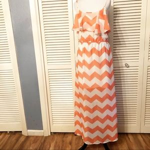 HeartSoul | 🌺Ruffled Orange & White Maxi Dress